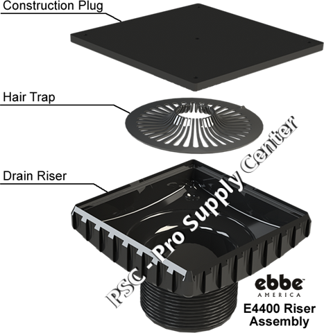 Ebbe drain Riser with hair trap and construction plug