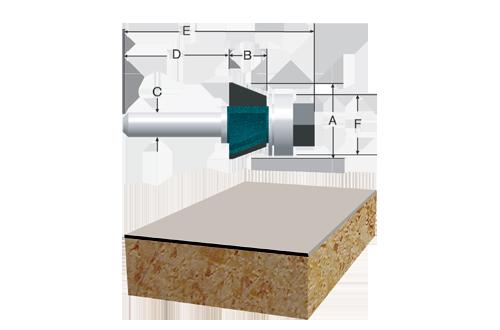 Carbide Tipped 3 Flute Flush and Bevel Laminate Trim Assemblies by Bosch
