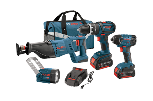 18V 4 Tool Kit with Brute Tough Hammer Drill Driver by Bosch
