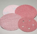 Carborundum 5 Inch 5 Hole Red Hook and Loop Discs Grits 80 - 600