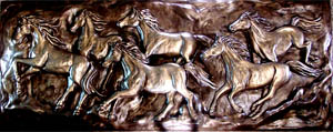 Metallic Tile Running Horses 14 x 36 Inches by Tiles-R-Us