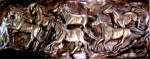 Metallic Tile Running Horses 14 x 36 Inches