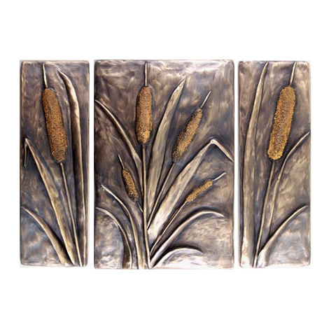 Metallic Tile Cattail Water Ways Tiles 12 Inches by Tiles-R-Us