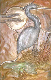 Metallic Tile Water Ways Heron 8 x 12 Inches by Tiles-R-Us