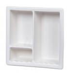 H12RC Three Compartment Large Recessed Ceramic Shower Niche