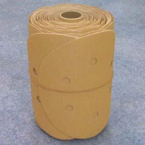 Premium Gold 6 Inch 6 Hole PSA Sanding Discs Roll 320 Grit by Mirka Abrasives