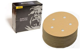 Gold 5 Inch 5 Hole Vacuum Hook n Loop 60 - 80 Grit Discs by Mirka Abrasives