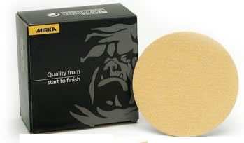 Gold 5 Inch No Hole Hook and Loop 36-400 Grit Sanding Discs by Mirka Abrasives