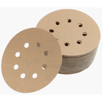 Premium Gold 5 Inch 8 Hole Hook n Loop 60 Grit Discs Qty 50 by Mirka Abrasives