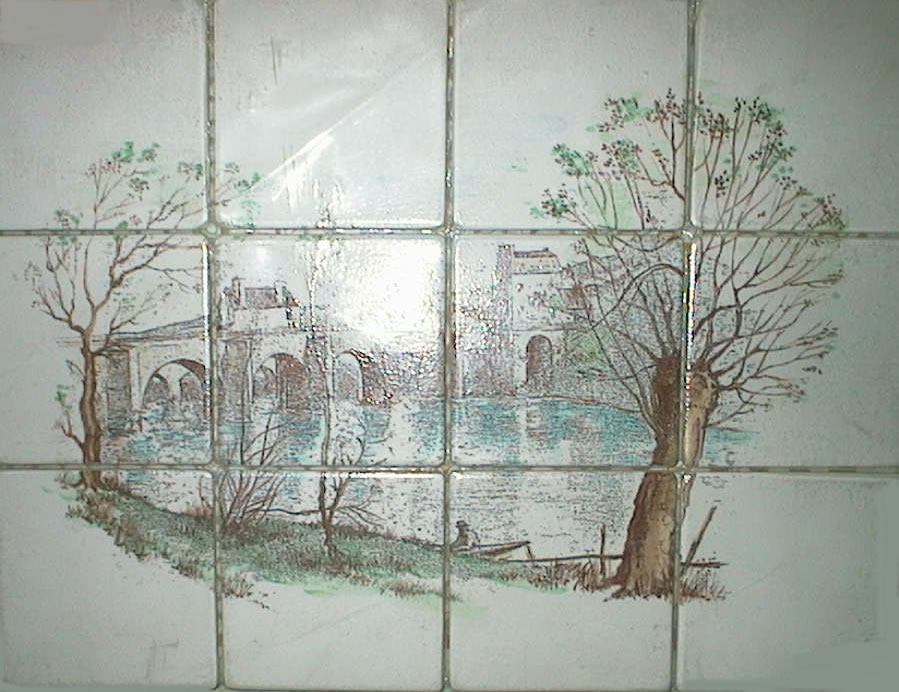 Antique Ceramic Mosaic Mural 12 x 16 by Emaux de Briare