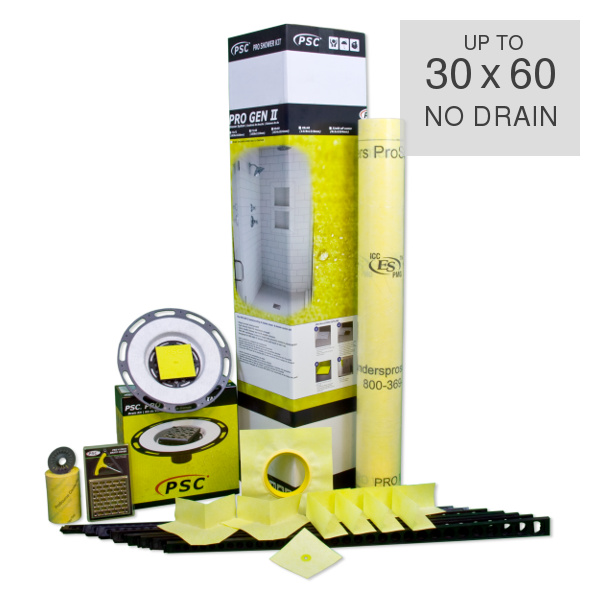 PSC Pro Gen II up to 30 x 60 Custom Tile Mud Shower Kit - NO DRAIN by Pro-Source Center