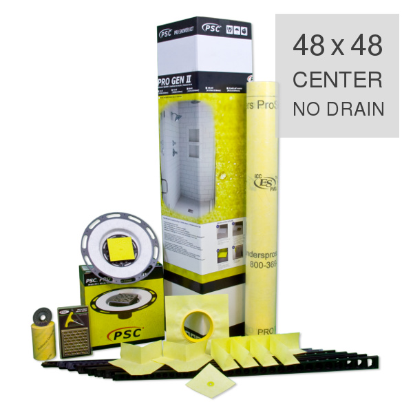 PSC Pro Gen II 48 x 48 Custom Tile Mud Kit - Center Drain - NO DRAIN by Pro-Source Center