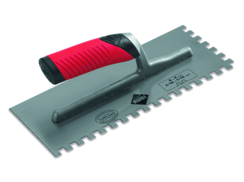 Finishing Trowels and Jagged Trowels with Open flex Handle by Rubi