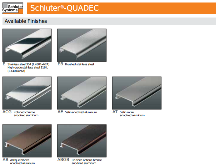 Schluter Quadec Finishing And Edge Protection Profiles
