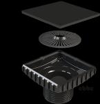 Ebbe Shower Floor Drain  Square Riser